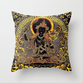 Manjushree Black Gold Thangka Throw Pillow