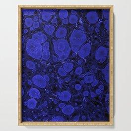 Tova - abstract art for home decor dorm college office minimal navy indigo blue Serving Tray