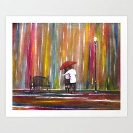 Love in the Rain romantic painting by Manjiri Kanvinde Art Print