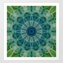 Detailed mandala in blue and green clours Art Print