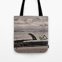 surfboard Tote Bags featuring Surfboard 1 by Becky Dix