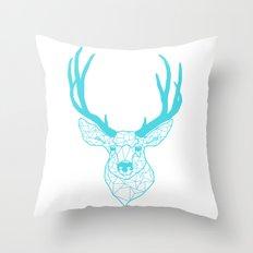 GEOMETRIC DEER : TEAL Throw Pillow