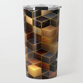 Cubes in Brown Travel Mug