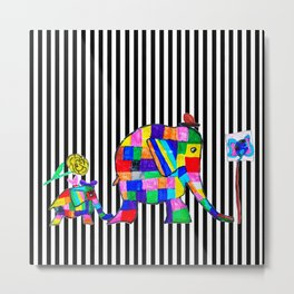 Elephant Festival |Family Walk | #society6 Metal Print
