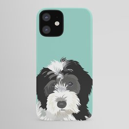 Bernedoodle pet portrait art print and dog gifts iPhone Case