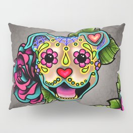 Smiling Pit Bull in Fawn - Day of the Dead Pitbull Sugar Skull Pillow Sham