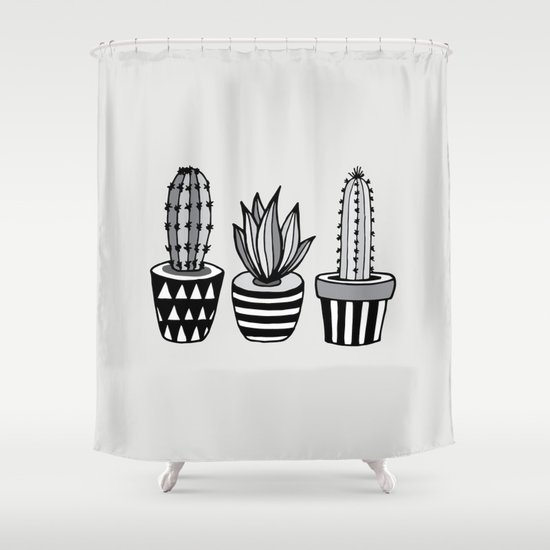 Cactus Plant monochrome cacti nature greyscale illustration floral succulent leaf home wall decor by themotivatedtype