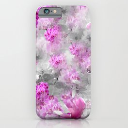 CHERRY BLOSSOMS ORCHIDS AND MAGNOLIA IMPRESSIONS IN PINK GRAY AND WHITE iPhone Case