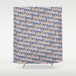 Lansing, Michigan Trendy Rainbow Text Pattern (Blue) Shower Curtain