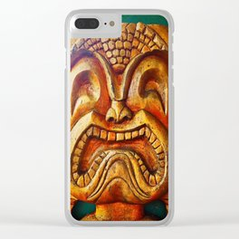 Crazy, fun, fierce, Hawaiian retro wood carving tiki face close-up Clear iPhone Case
