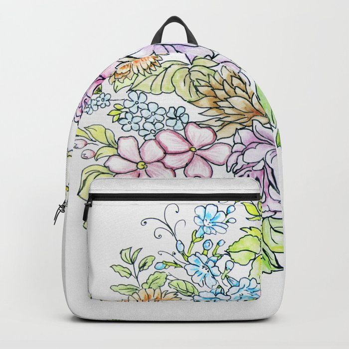 arrangement of flowers in pastel shades on a white background . illustration Backpack