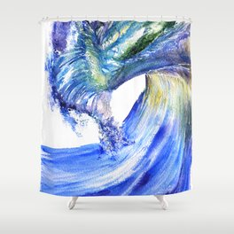Watercolor Sunny Wave Shower Curtain