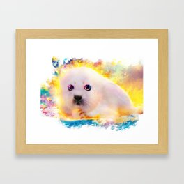 curious seal Framed Art Print