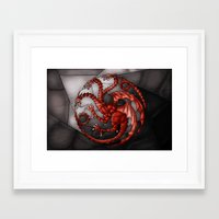 targaryen Framed Art Prints featuring House Targaryen Stained Glass by itsamoose