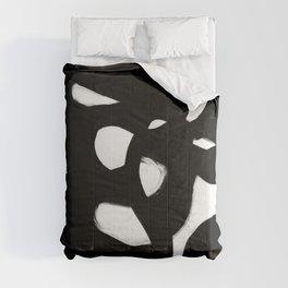 Maze Black & White Minimalist Abstract Mid century Ink Art Dark Brush Strokes Comforters