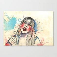 She Smokes Canvas Print