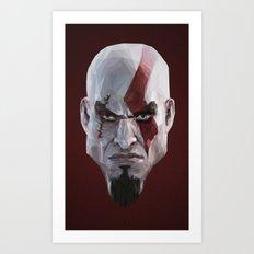 Triangles Video Games Heroes - Kratos Art Print