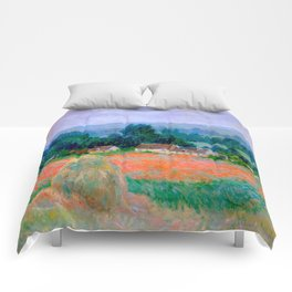 Claude Monet Impressionist Landscape Oil Painting Haystack at Giverny Comforters