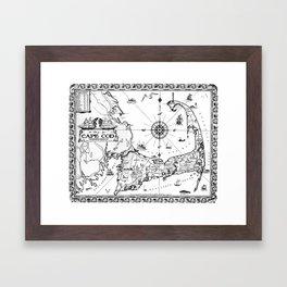Vintage Map of Cape Cod BW Framed Art Print