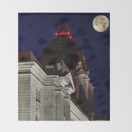 October Super Moon Throw Blanket
