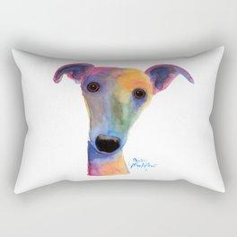 Nosey Dog Whippet Greyhound ' PANSY ' by Shirley MacArthur Rectangular Pillow