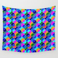 70s Wall Tapestries featuring 70s retro circles,blue by MehrFarbeimLeben