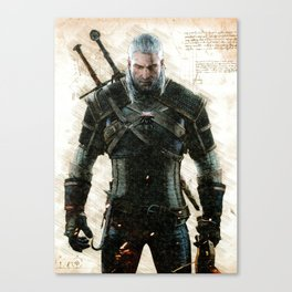 Gerald of rivia the witcher three 3 da vinci style sketch artwrok Canvas Print