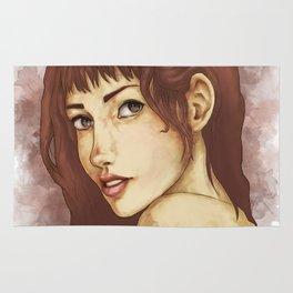 Red Feminine Girl Rug