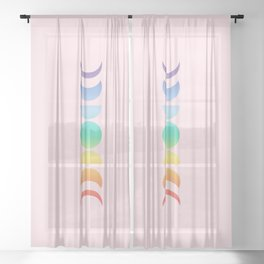 Not a Phase Moon Rainbow Sheer Curtain