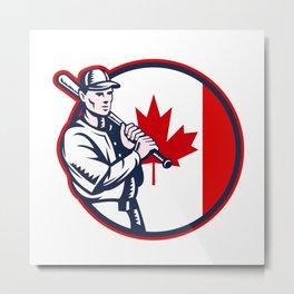 Canadian Baseball Batter Canada Flag Circle Metal Print