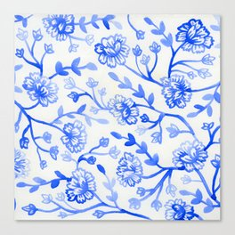 Watercolor Peonies - China Blue Canvas Print