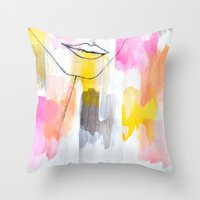 lips Throw Pillows featuring Lips by Alexandra Str