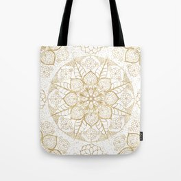 Stylish boho hand drawn golden mandala Tote Bag
