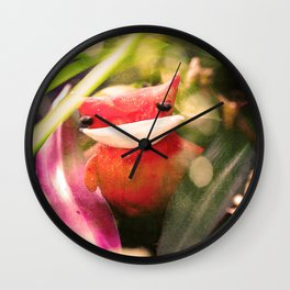 Red kitty in the Jungle Wall Clock