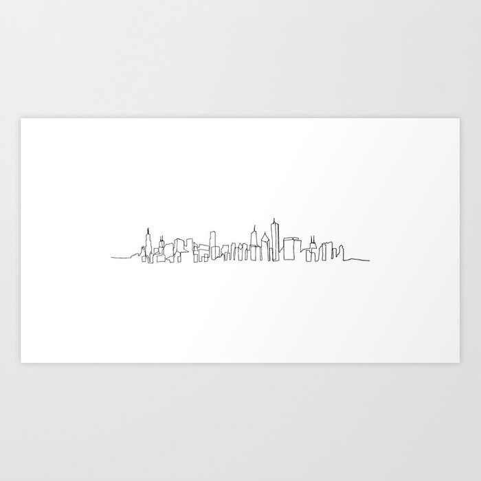 Chicago Skyline Drawing Art Print