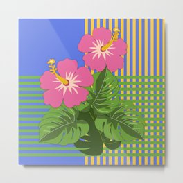 Monstera leaves and Hibiscus flowers on striped background Metal Print