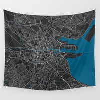 dublin Wall Tapestries featuring Dublin city map black colour by MCartography