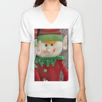 elf V-neck T-shirts featuring Ginger Elf by IowaShots