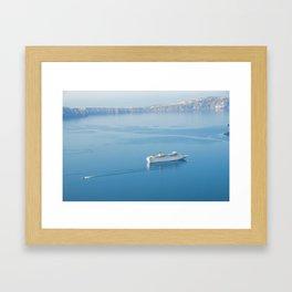 Cruise liner at the sea near Santorini island, Greece Framed Art Print
