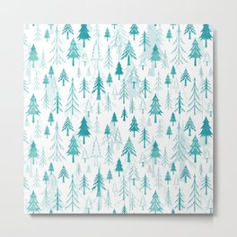 Christmas tree forest on white Metal Print