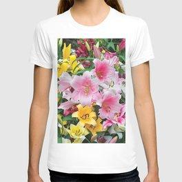 SPRING LILIES FLOWER GARDEN MEDLY T-shirt