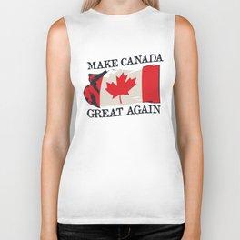 Make Canada Great Again Funny Canadian Flag MCGA Pun Biker Tank