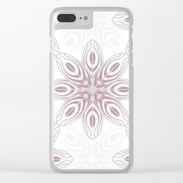 Feathers, Geometric Pattern in Mauve and Grey Clear iPhone Case