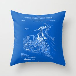 Motorcycle Sidecar Patent - Blueprint Throw Pillow