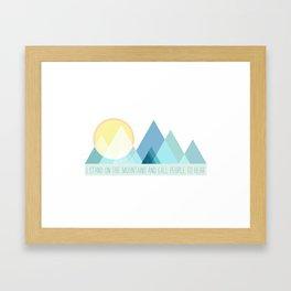 Geometric Color Block Mountains (Blues) Framed Art Print