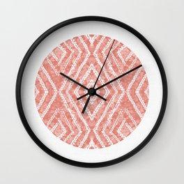 Peach Circle African Dye Resist Fabric Adire Boho Chic Wall Clock