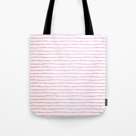 fine pink handpainted stripes on clear white Tote Bag