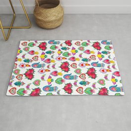 Sacred Hearts Milagros Watercolor Rug