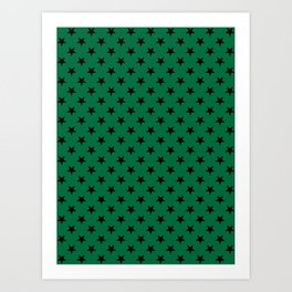Black on Cadmium Green Stars Art Print