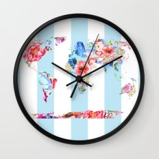 Floral World Stripe Wall Clock